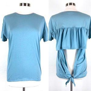 Zara Trafaluc Blue Short Sleeve Ruffle Open Back